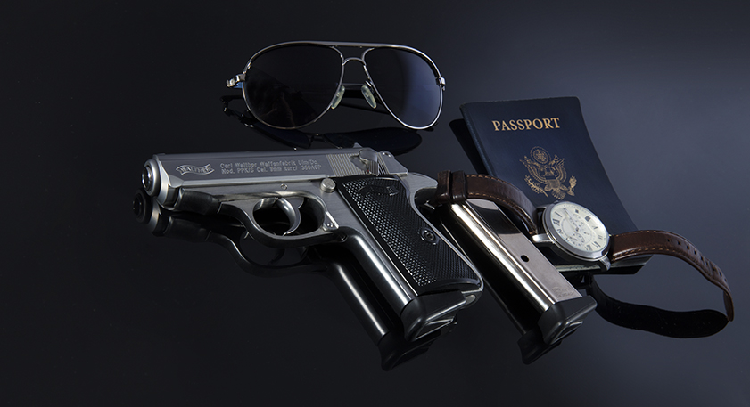 The original EDC fit for a legendary cinematic spy. The Walther PPK & PPK/s, Passport, wristwatch and Aviator Sunglasses.